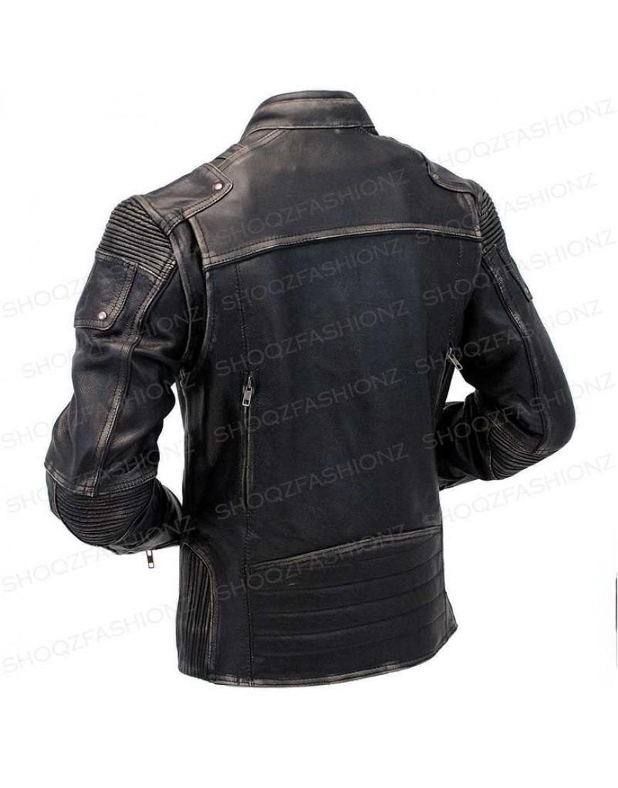 Men's Vintage Motorcycle Cafe Racer Distressed Leather Jacket