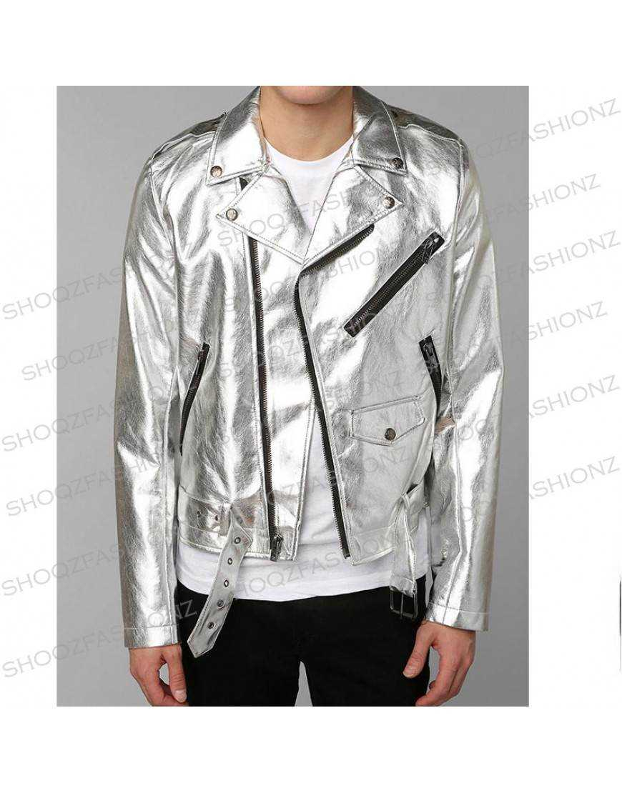 Tripp NYC Punk Rave Goth X-men Metal Rocker Faux Silver Jacket