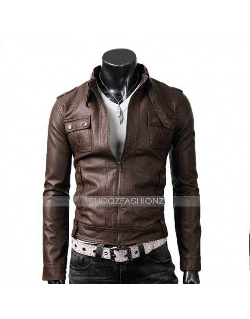Slim Fit Light Brown Strap Pocket Jacket