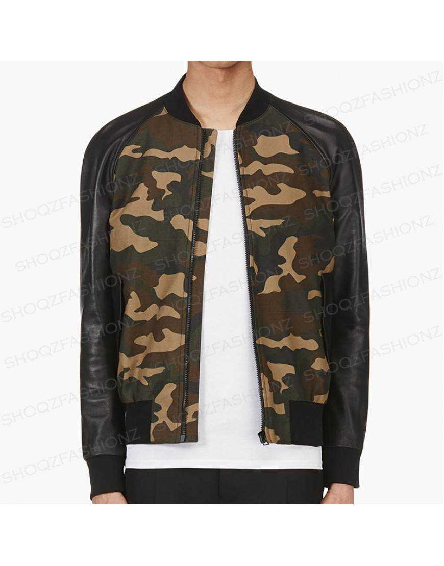 Camouflage Pu Leather Jacket