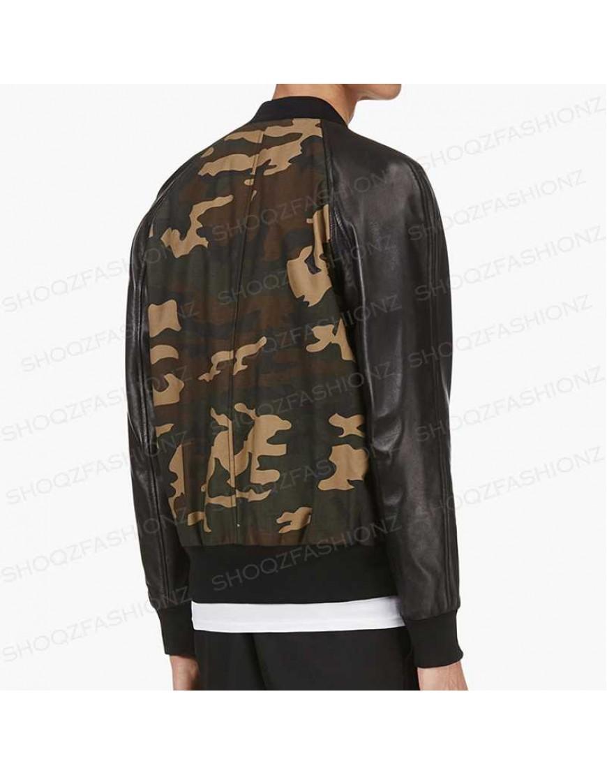 Camouflage Pu Leather Jacket