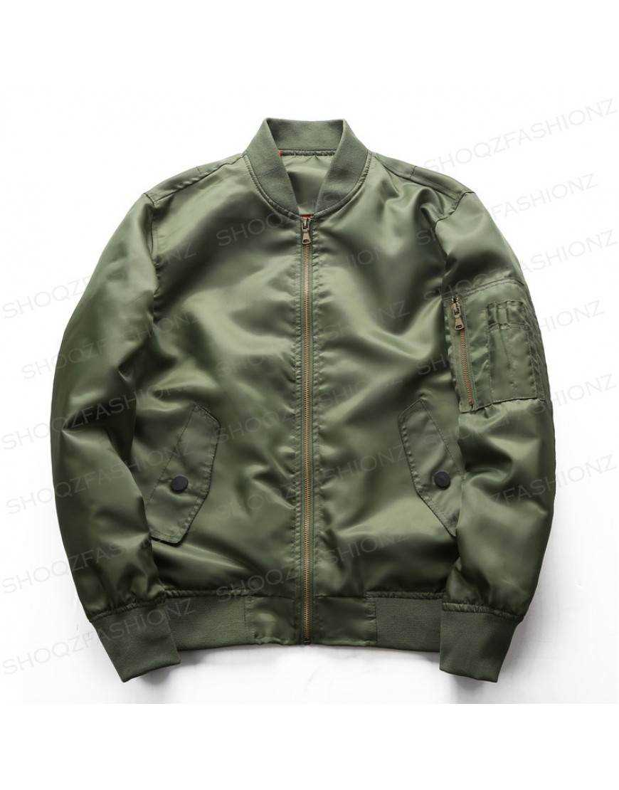 Men's Green Slim Fit Bomber Jacket