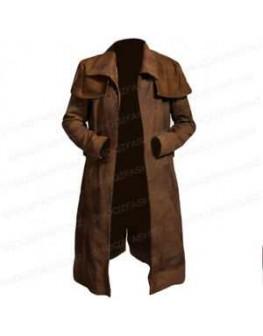 Fallout Vegas Veteran Ranger Trench Real Leather Coat